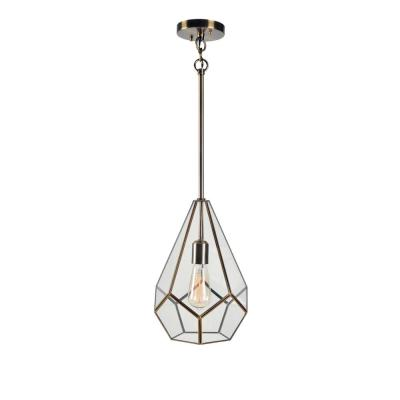 1 Light Geometric Antique Brass Pendant