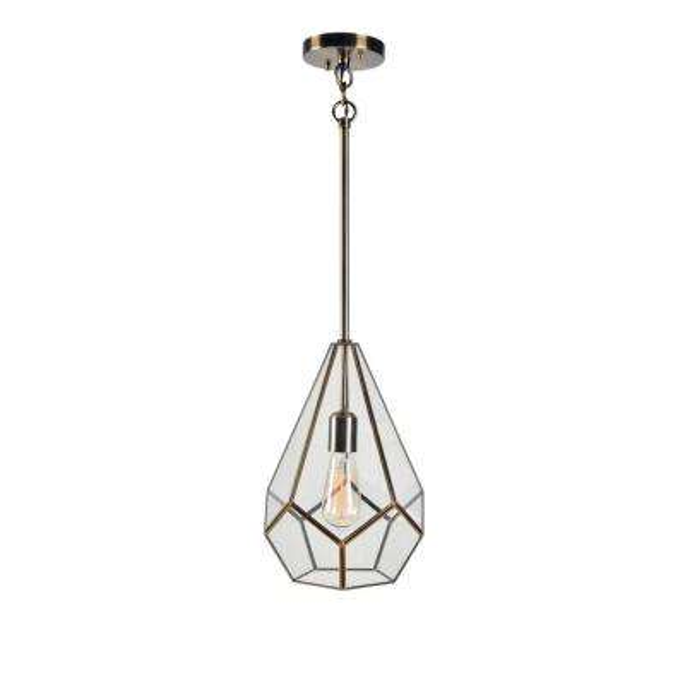1 Light Geometric Antique Brass Pendant