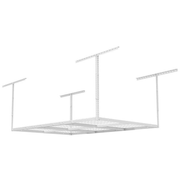 6 ft. x 4 ft. Heavy-Duty Overhead Garage Adjustable Ceiling Storage Rack in White