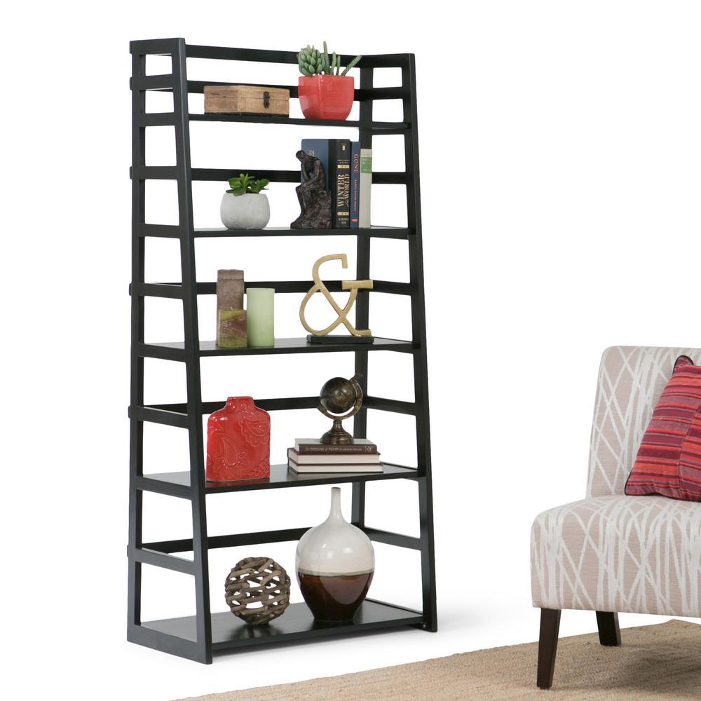 Acadian Black Solid Wood Ladder Bookcase Shelves Bookshelf Storage 5 Shelf