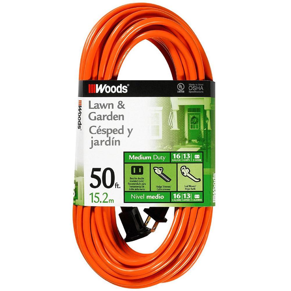 50 ft. 16/2 SJTW Outdoor Light-Duty Extension Cord in Orange