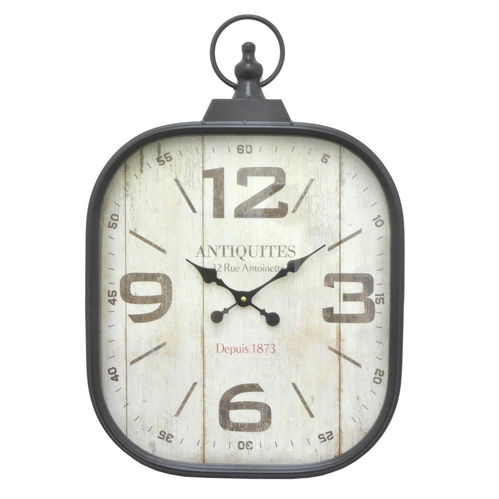THREE HANDS Black Metal Frame Wall Clock-61741 - The Home Depot