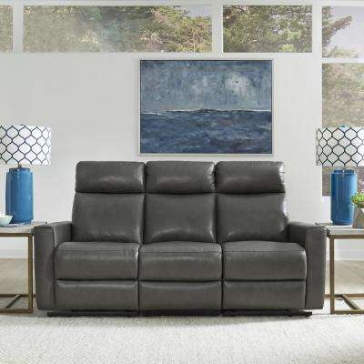 Nuovo Gray Leather Power Motion Reclining Sofa