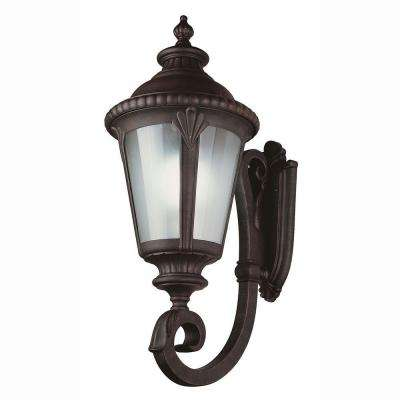 1-Light Rust Outdoor Energy Saving Coach Lantern with Frosted Glass