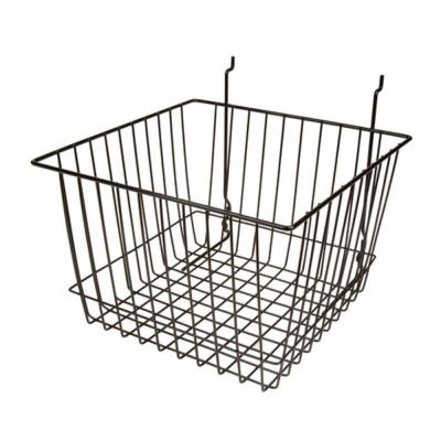 Wire Storage Baskets for Gridwall, Slatwall and Pegboard- 8 in. H x 12 in. W x 12 in. D Black (6-Pack)