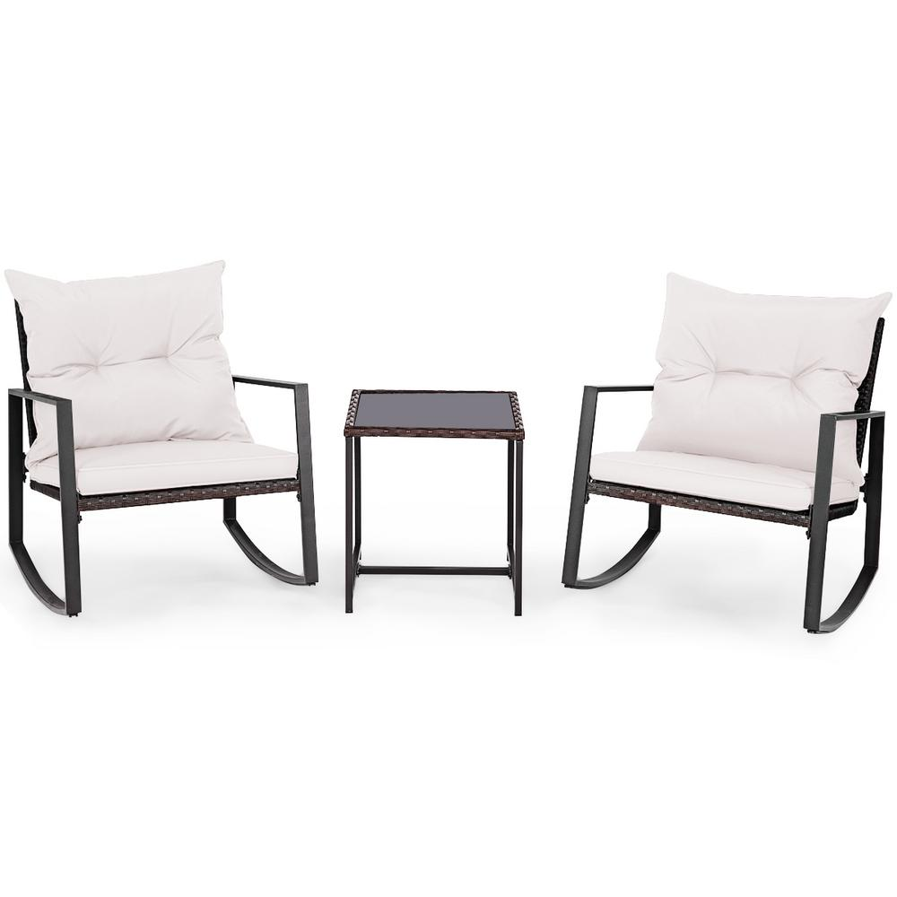 Costway 3-Piece Wicker Patio Conversation Set Bistro Furniture Set 2 Rocking Chairs, Glass Side Table with Beige Cushions