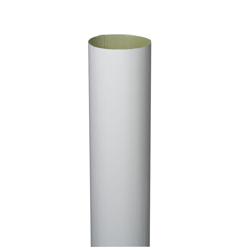 3 in. x 10 ft. White Aluminum Plain Round High Gloss