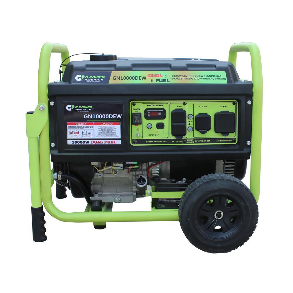 10000/8750-Watt Dual Fuel Gas/Propane Powered Portable Generator w/420cc/15HP LCT Professional Engine, Lithium Battery
