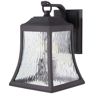 Cassidy Park 3-Light Black Outdoor Wall Lantern Sconce with Clear Water Glass