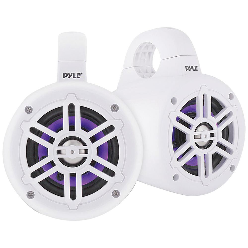 4 in. 300-Watt Waterproof Marine Wakeboard Tower Speakers with LEDs in White Ready to add some marine wakeboard speakers to your watercraft This pair of Pyle PLMRLEWB47BW 4 in. 300 Watt Waterproof Marine Wakeboard Tower Speakers feature ABS grilles, built-in LED lights and UV-resistant coating. These white 2-way full-range speakers have 4 in. long excursion subwoofers, 1 in. titanium dome tweeters and Bluetooth capabilities with a range up to 30+ ft. for music streaming. These marine tower speakers fit roll bars up to 1.96 in. in diameter.