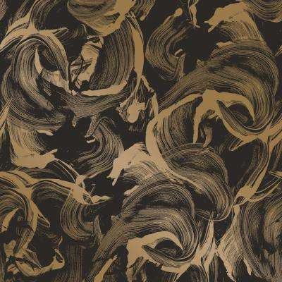 L'Amour Matte Black and Gold Self-Adhesive Removable Wallpaper