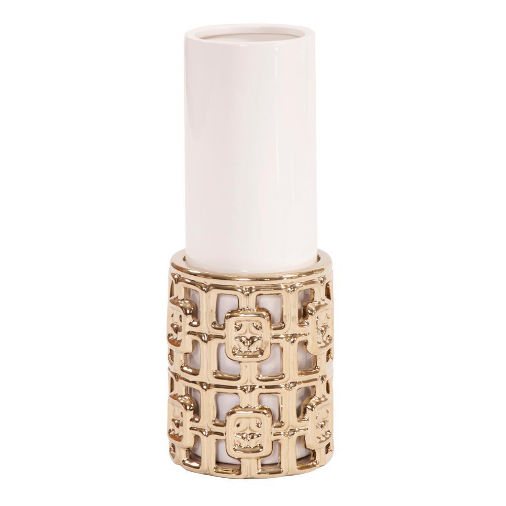 Gold Lattice Base Ceramic Cylinder Decorative Vase Small