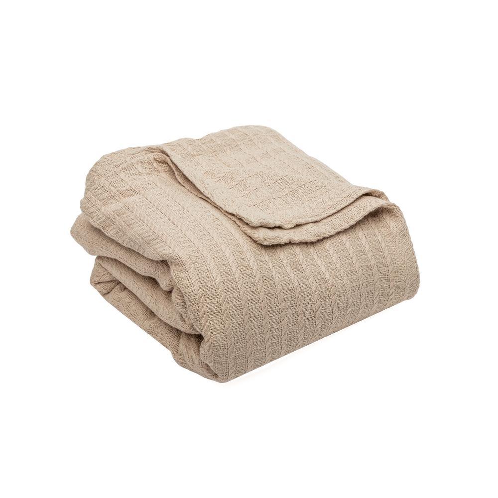 Layla Cotton Full/Queen Throw Blanket in Linen