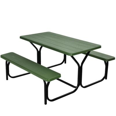 Green Rectangle Metal Picnic Table Bench Set with Extension