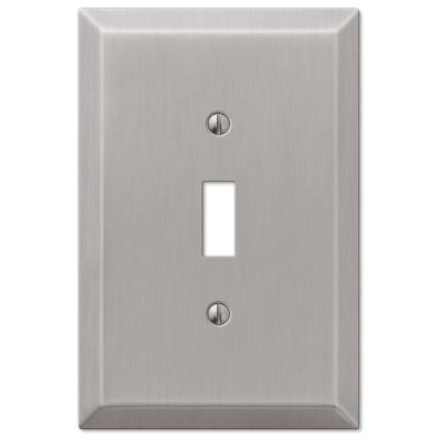 Oversized 1 Gang Toggle Steel Wall Plate - Brushed Nickel