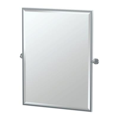 Latitude 25 in. W x 33 in. H Framed Rectangular Beveled Edge Bathroom Vanity Mirror in Chrome