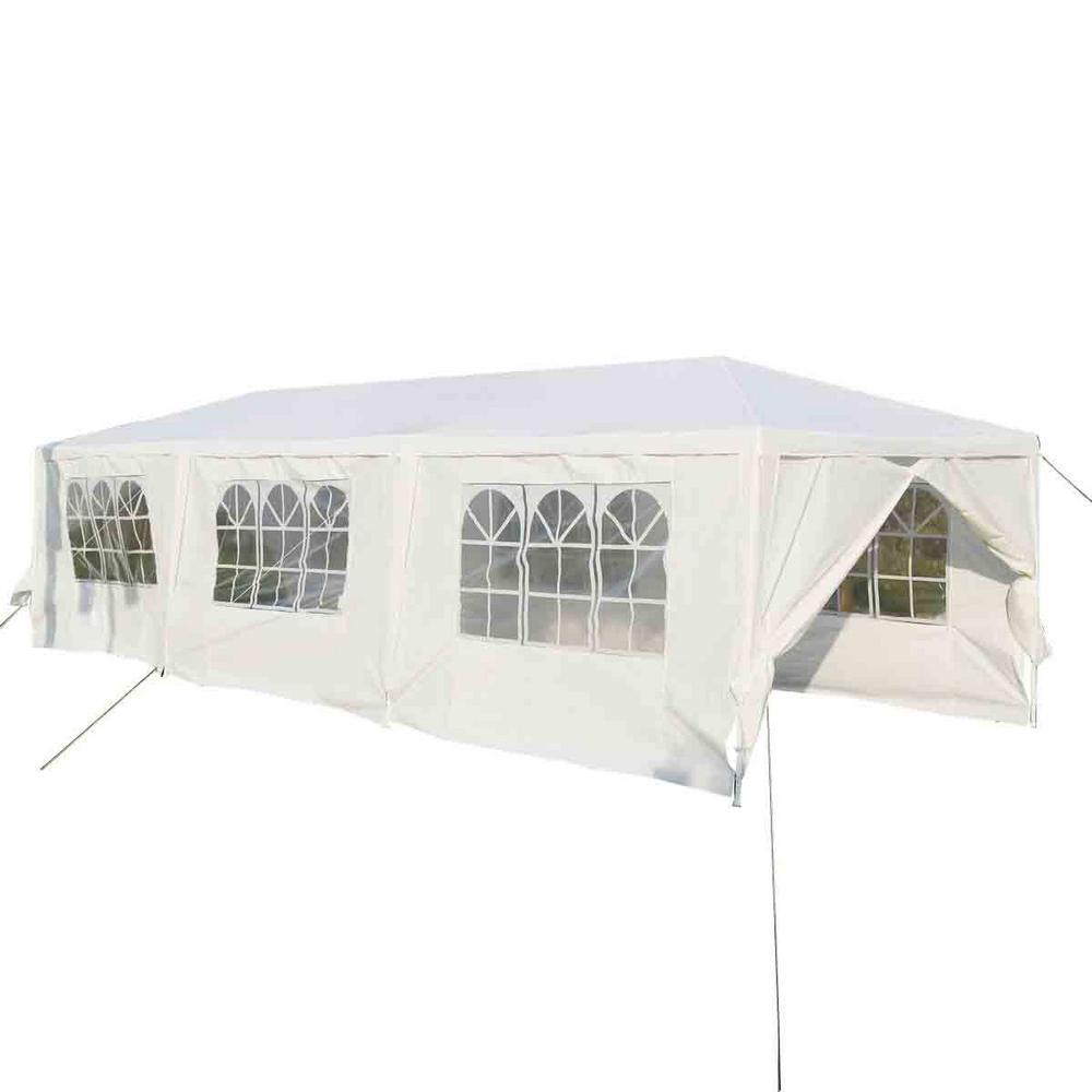 10 sq. ft. x 30 ft. White Outdoor Party Wedding Tent Canopy Heavy-Duty Gazebo