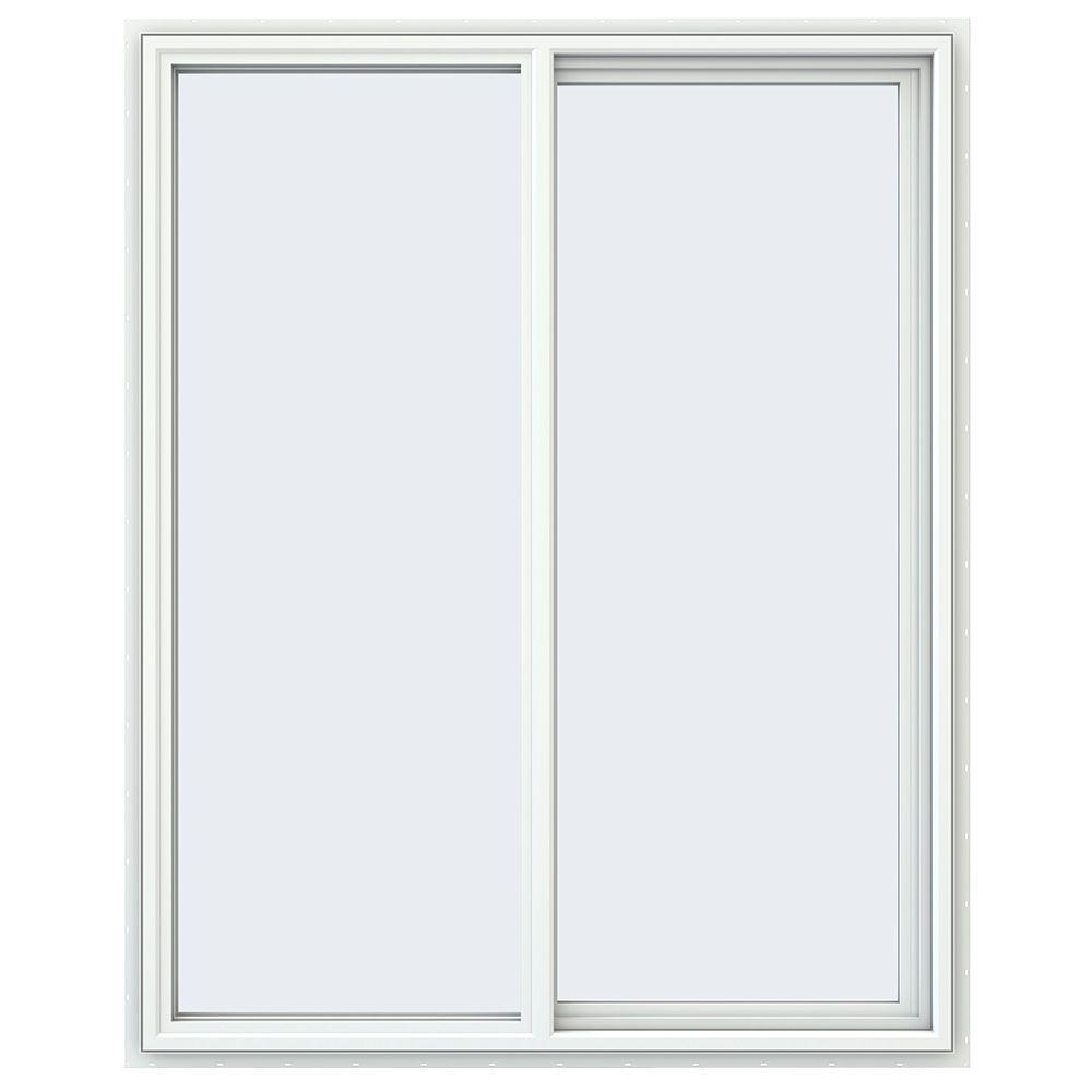 JELD-WEN 47.5 in. x 59.5 in. V-4500 Series White Vinyl Right-Handed Sliding Window with Fiberglass Mesh Screen