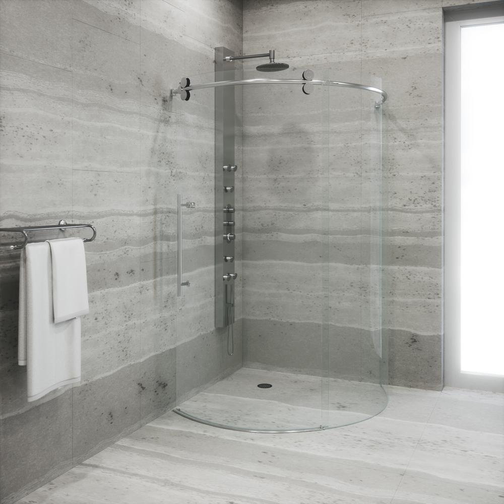 Frameless Bypass Round Shower Enclosure Left Door & VIGO Sanibel 38 in. x 74.625 in. Frameless Bypass Round Shower ... Pezcame.Com