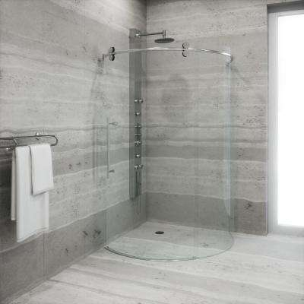 Sanibel 38 in. x 74.625 in. Frameless Bypass Round Shower Enclosure Left Door in Stainless Steel