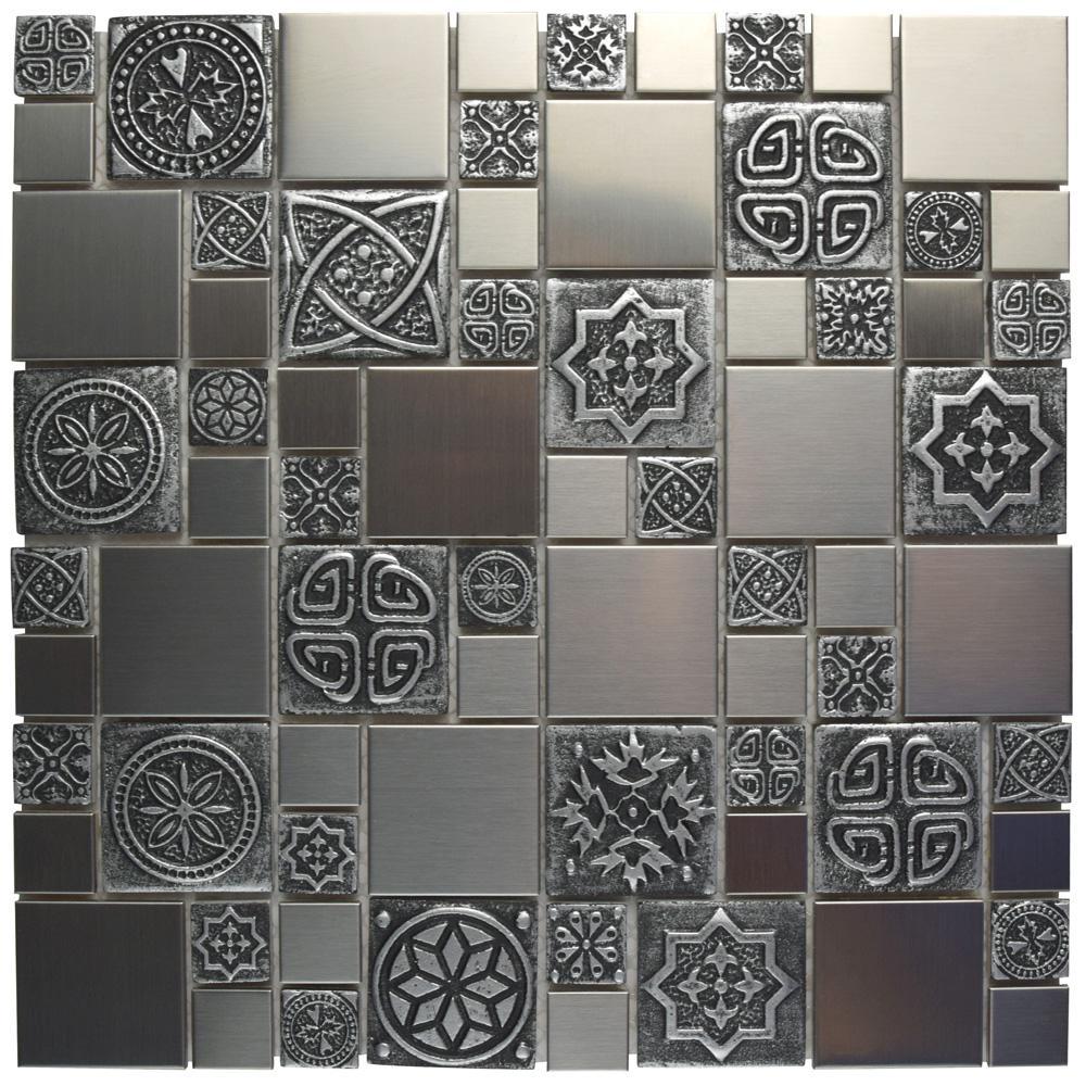 Meta Versailles 11-3/4 in. x 11-3/4 in. x 8 mm Stainless Steel Metal Over Ceramic Mosaic Tile