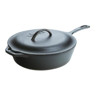 12 in. Cast Iron Deep Skillet in Black with Lid