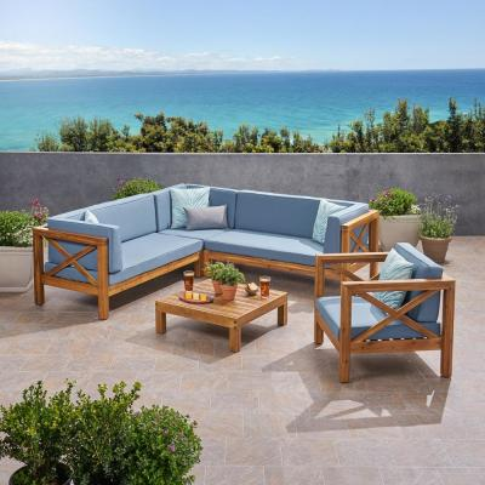 Noble House Brava Teak Brown 5 pc Wood Patio Conversation Sectional Seating Set w/ Blue Cushions