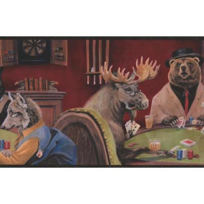 Animals Playing Poker Cards Prepasted Wallpaper Border