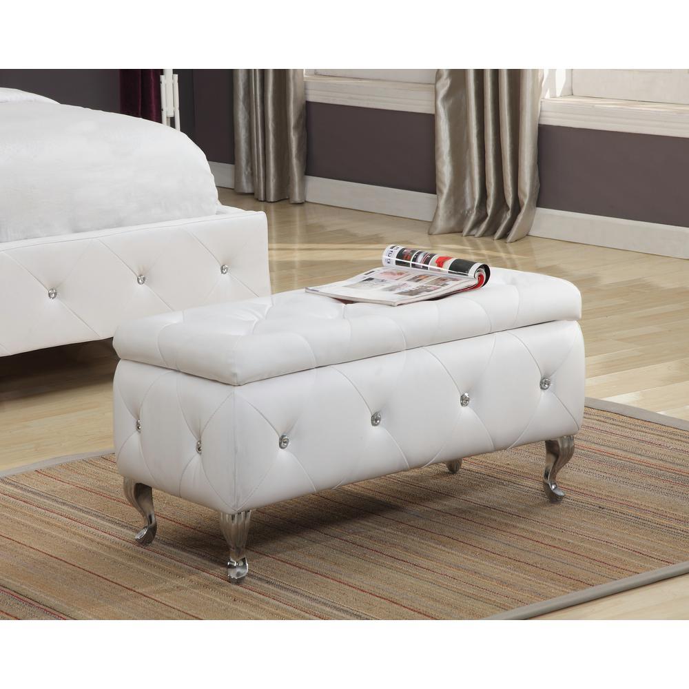 InRoom Designs White Vinyl Upholstered Tufted Storage Ottoman Bench EB-4015B