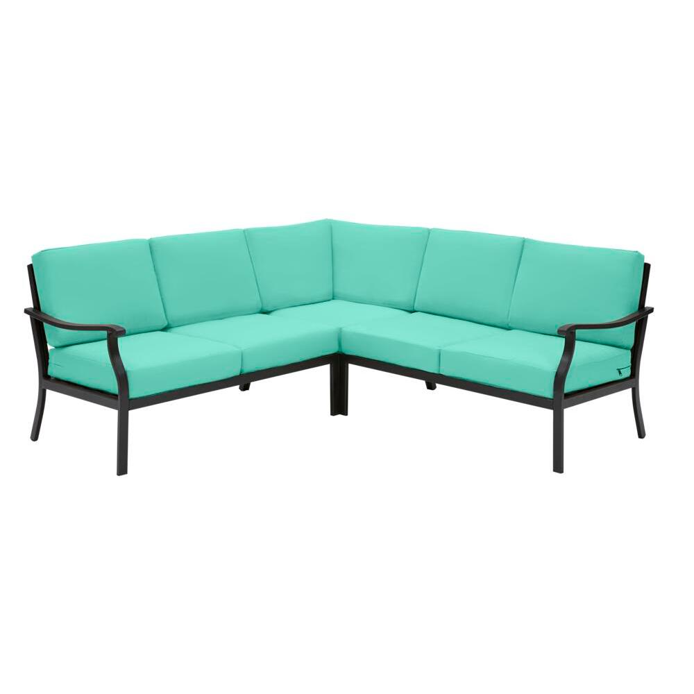Hampton Bay Riley 3-Piece Black Steel Outdoor Patio Sectional Sofa with CushionGuard Seaglass Turquoise Cushions was $899.0 now $499.0 (44.0% off)