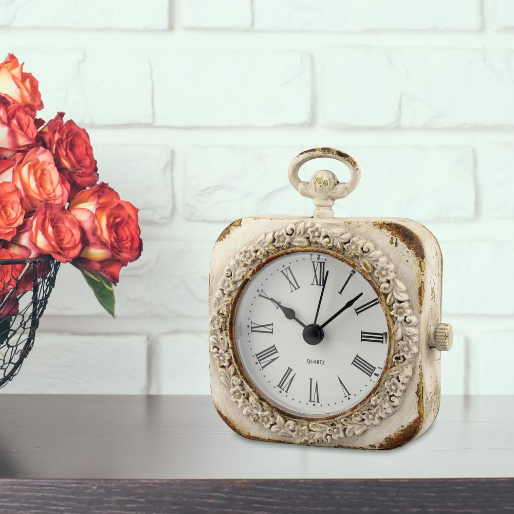 Weathered White Tabletop Clock