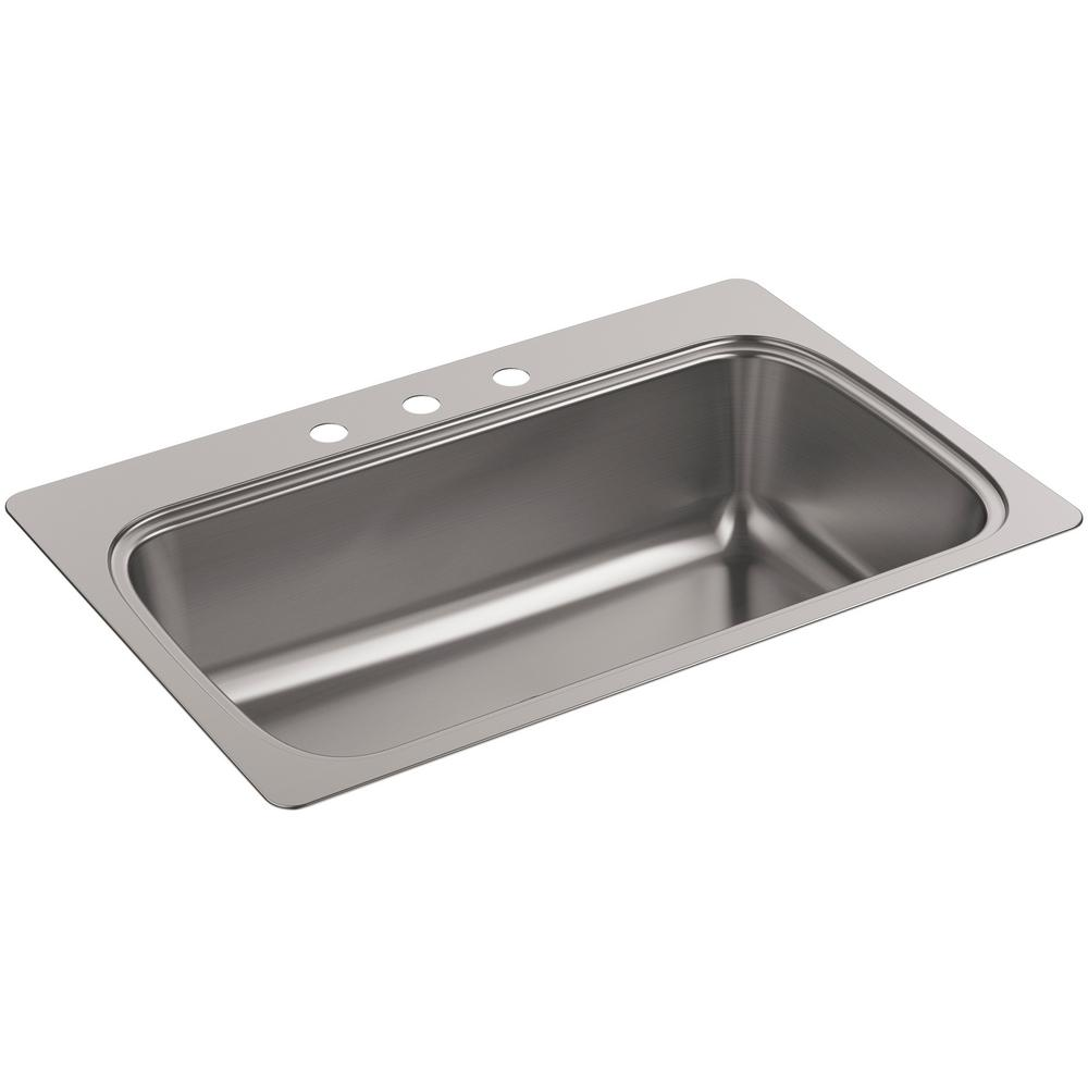 a221beec85 Verse Drop-In Stainless Steel 33 in. 3-Hole Single Basin Kitchen Sink