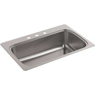 Verse Drop-in Stainless Steel 33 in. 3-Hole Single Bowl Kitchen Sink