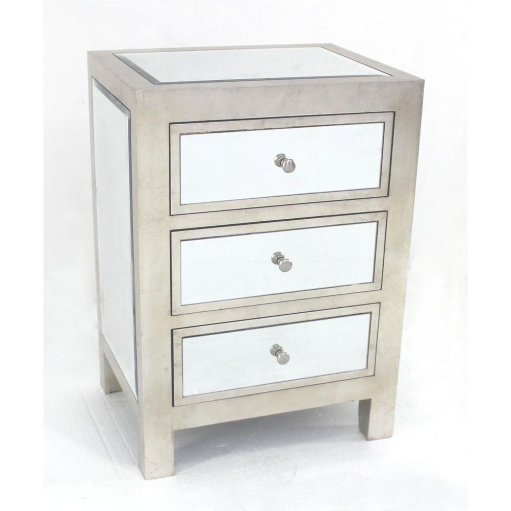 Charmant Silver Wood Mirror 3 Drawer Storage Cabinet