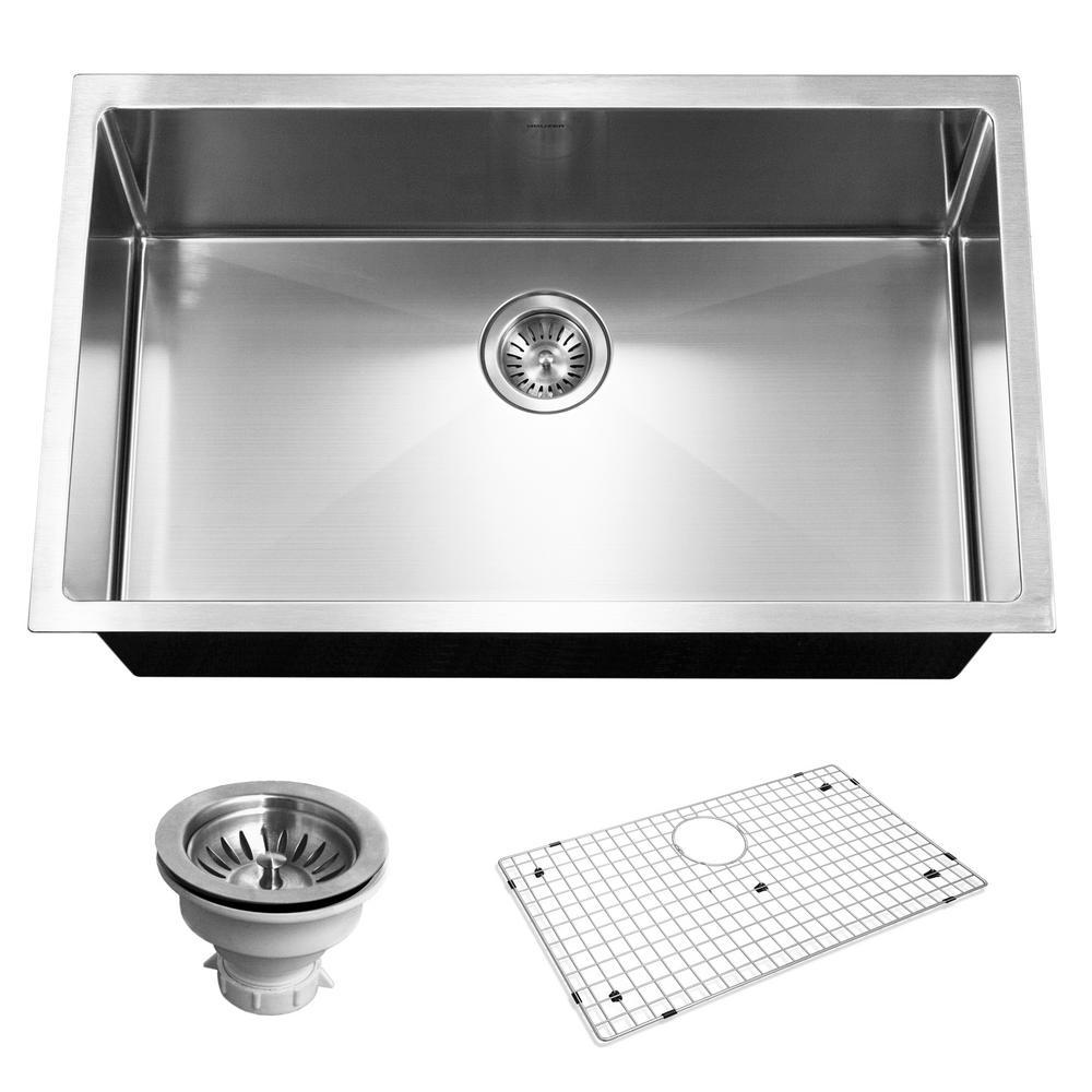 Savoir Series Undermount Stainless Steel 32 in. Single Bowl Kitchen Sink, Satin Brushed