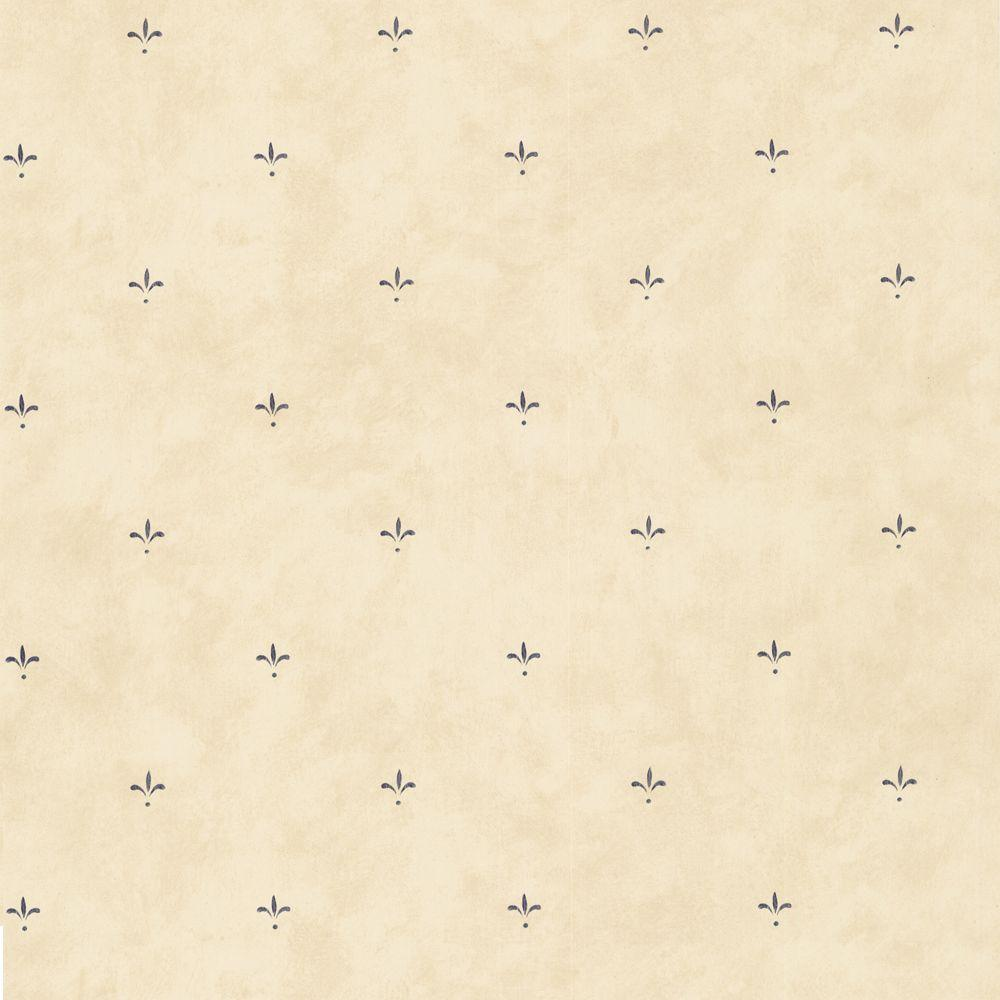 The Wallpaper Company 56 sq. ft. Neutral Fleur De Lis Spot Wallpaper-DISCONTINUED