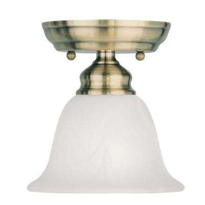 Tashia 1-Light Antique Brass Semi-Flush Mount Light