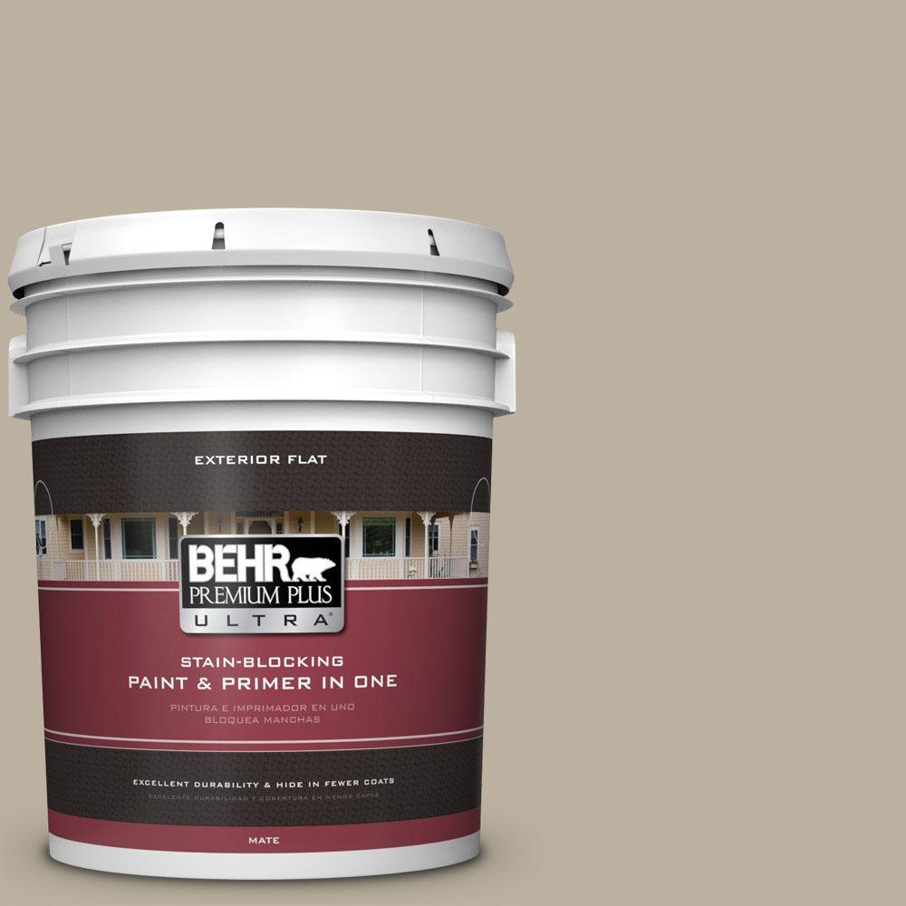 BEHR Premium Plus Ultra 5-gal. #750D-4 Pebble Stone Flat Exterior Paint