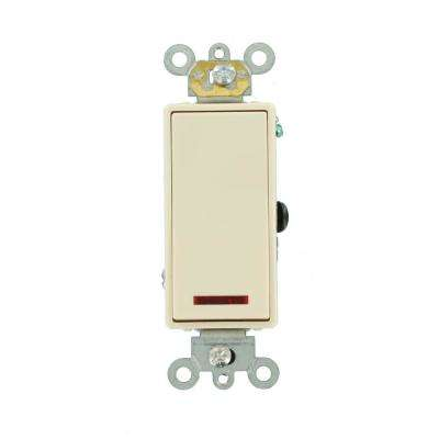 20 Amp Decora Plus Commercial Grade Single Pole Rocker Switch with Pilot Light, Light Almond