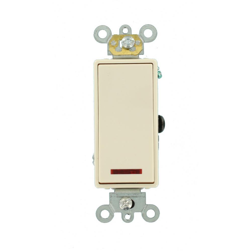 20 Amp Decora Plus Commercial Grade Single Pole Rocker Switch with Pilot Light, Light Almond