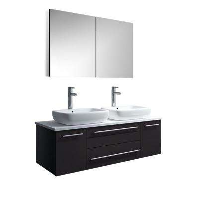 Lucera 48 in. W Wall Hung Vanity in Espresso with Quartz Stone Vanity Top in White with White Basins, Medicine Cabinet