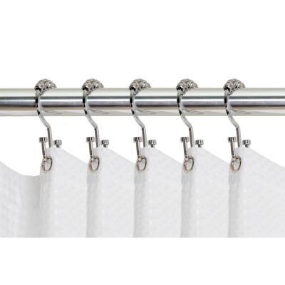 Stainless Steel Roller Rust-Resistant Balance Sliding Anti-Drop Double Head Shower Hooks Rings for Bathroom Shower Rods Curtains 12PCS Shower Curtain Rings BUYGOO Shower Curtain Hooks Bronze