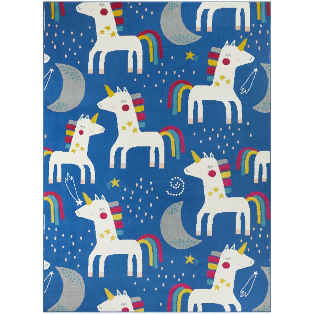 Rainbow Unicorn Blue 5 ft. x 7 ft. Area Rug