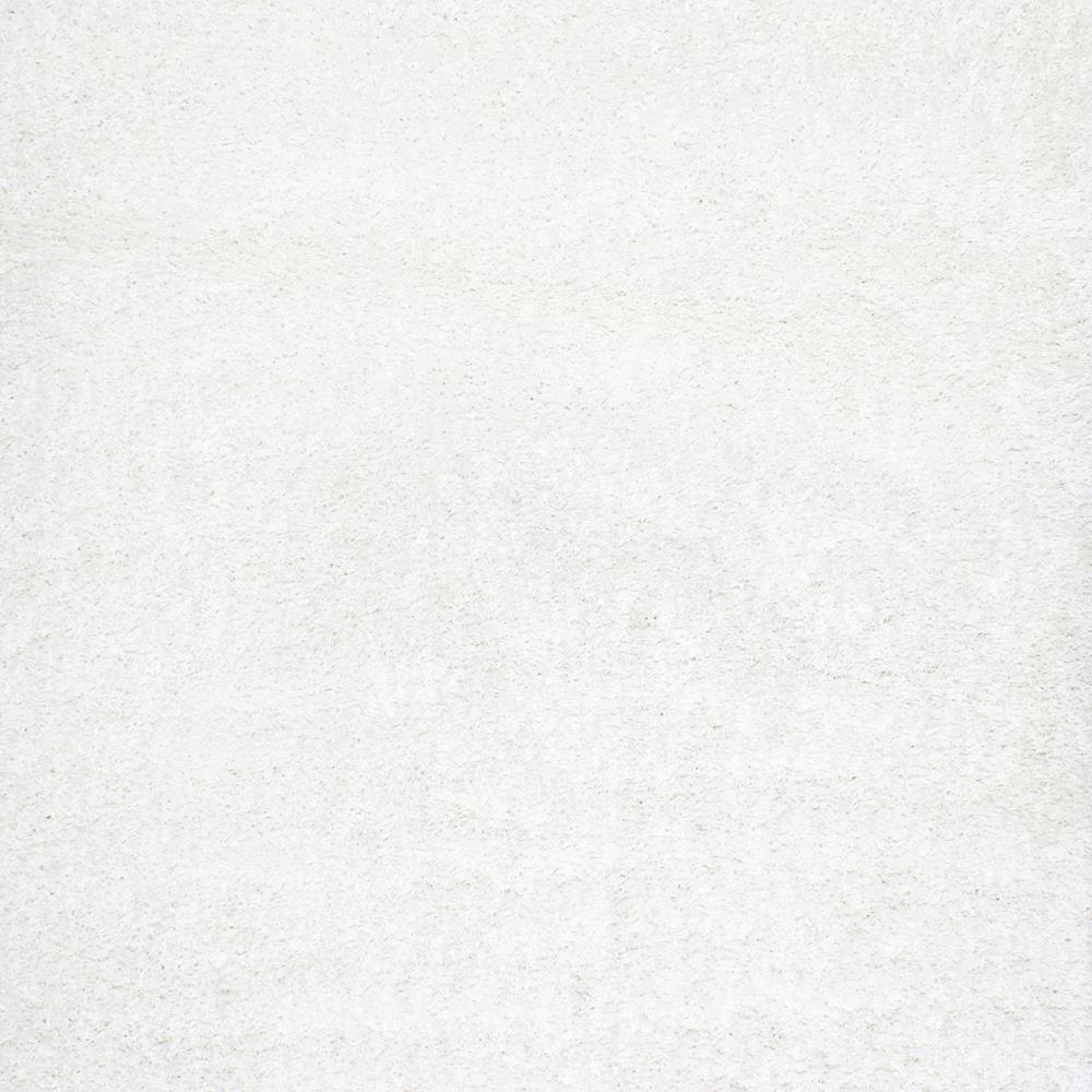 Marleen Plush Shag White 4 ft. Square Rug