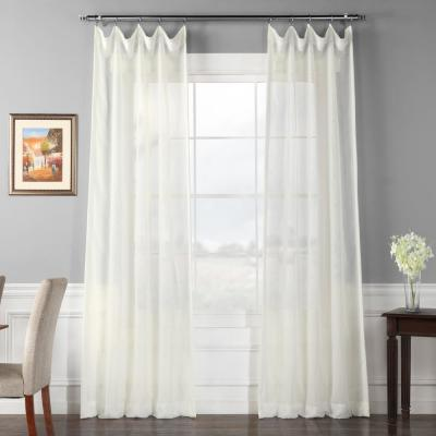 Signature Double Layered Off White Sheer Curtain - 50 in. W x 108 in. L (1-Panel)