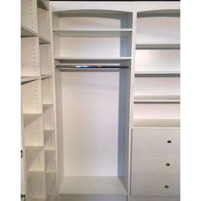 Wardrobe Hanging Closet System 14 in. D x 32 in W x 84 in H  Freestanding Storage White Melamine Wood