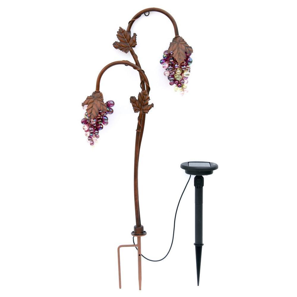 Twin Head Grape Lighting Bronze Solar LED Path Light