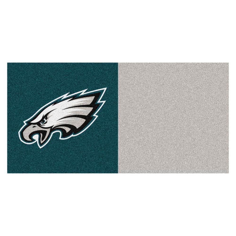 FANMATS NFL - Philadelphia Eagles Teal and Gray Nylon 18 in. x 18 in. Carpet Tile (20 Tiles/Case)