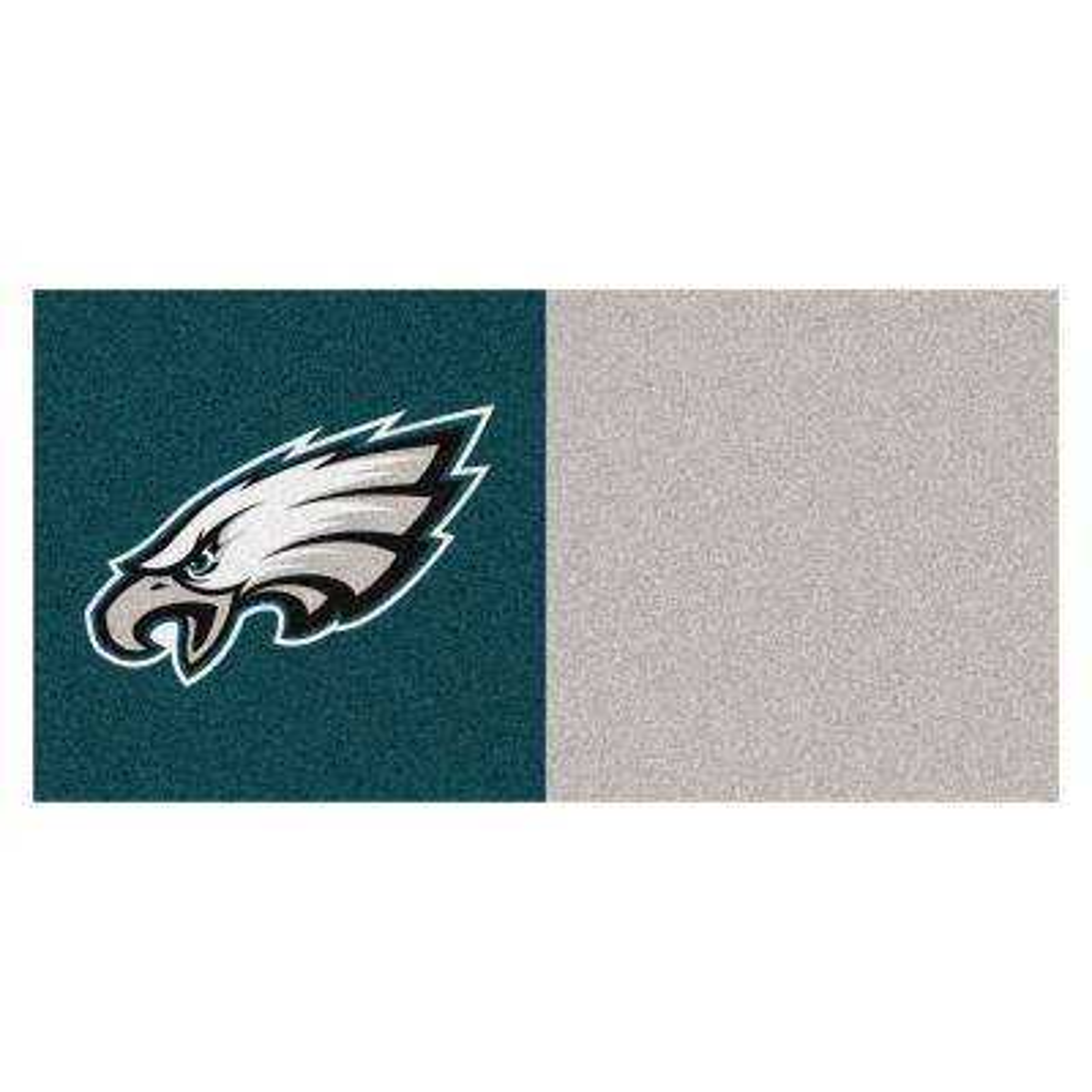 NFL - Philadelphia Eagles Teal and Gray Nylon 18 in. x 18 in. Carpet Tile (20 Tiles/Case)