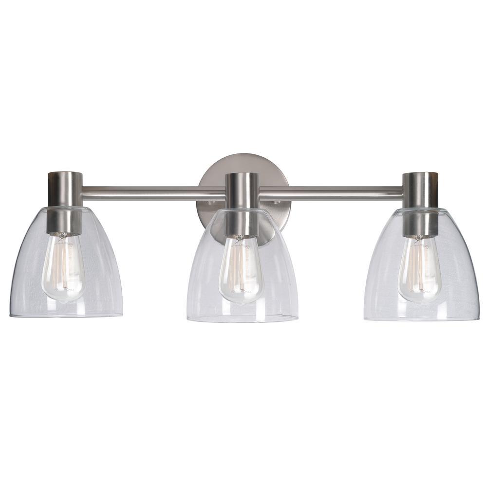 Kenroy Bathroom Vanity Light: Kenroy Home Edis 3-Light Brushed Steel Bath Light-92093BS